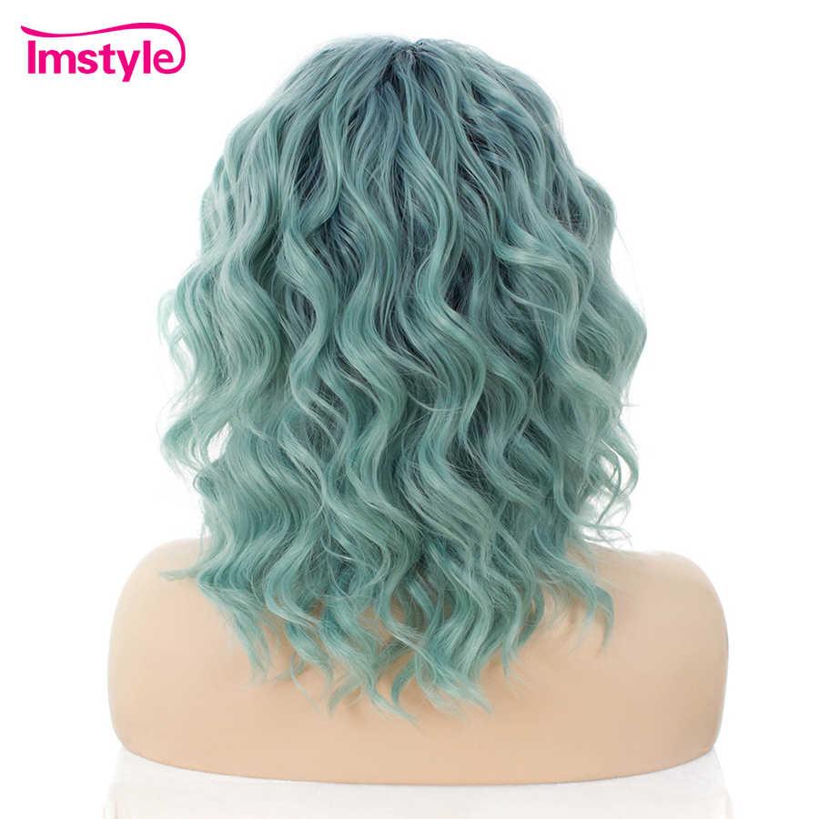 Парики из искусственных волос без шапочки-основы короткий волнистые зеленый парик из натуральных волос Карнавальные парики