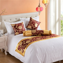 Hotel Bed Tail Towel High-grade Silk Jacquard Home Or Hotel Bed Flag Table Runner Bedroom Bedding Decor