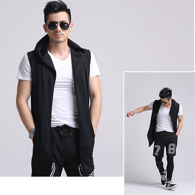 loose full zip men jacket 2015 fashion slim fit sleeveless