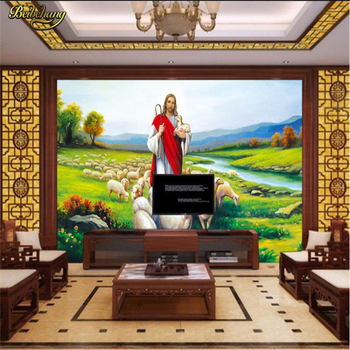 beibehang Christian Jesus painting Custom Background wall paper Photo Wallpaper Living Room Sofa Bedroom Art Mural wall paper beibehang custom mural wall paper southeast green banana leaf wallpaper bedroom living room background wall decor wallpaper roll
