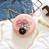 Handmade Women Wristlets Bag Vintage Retro China Style Chain Feminine Chi pao style Handbag elegant flower evening clutch