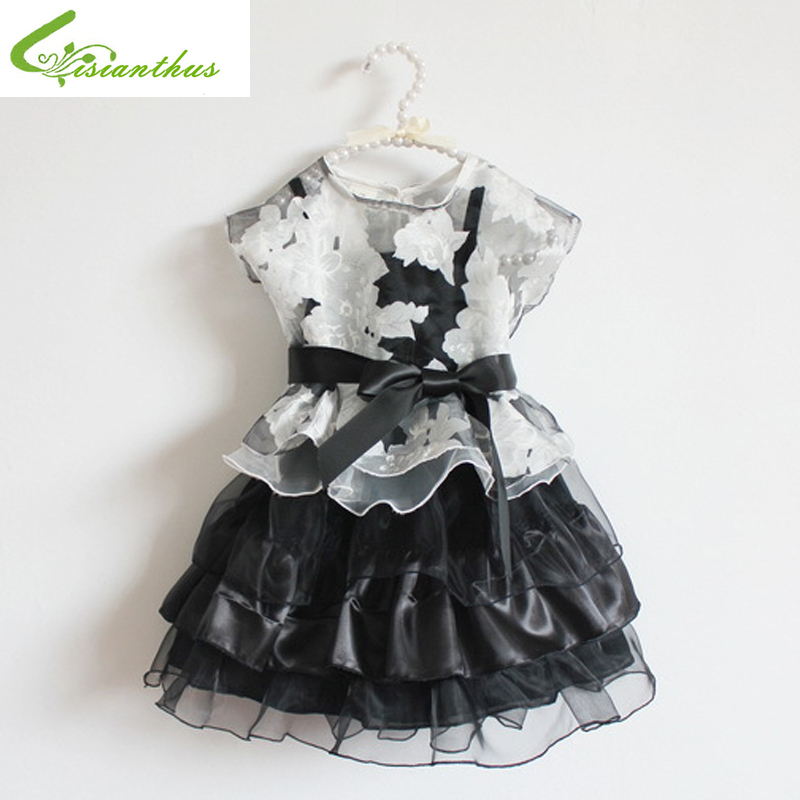 Girls Princess Organza 2pcs Dress Kids Birthday Party Ball Gown 2017 New Fashion Summer Sleevless Clothing Flower Layered Dress стоимость