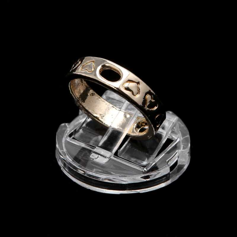 Transparent Finger Ring Display Stand Holder Jewelry Tray Ring Plastic Showcase