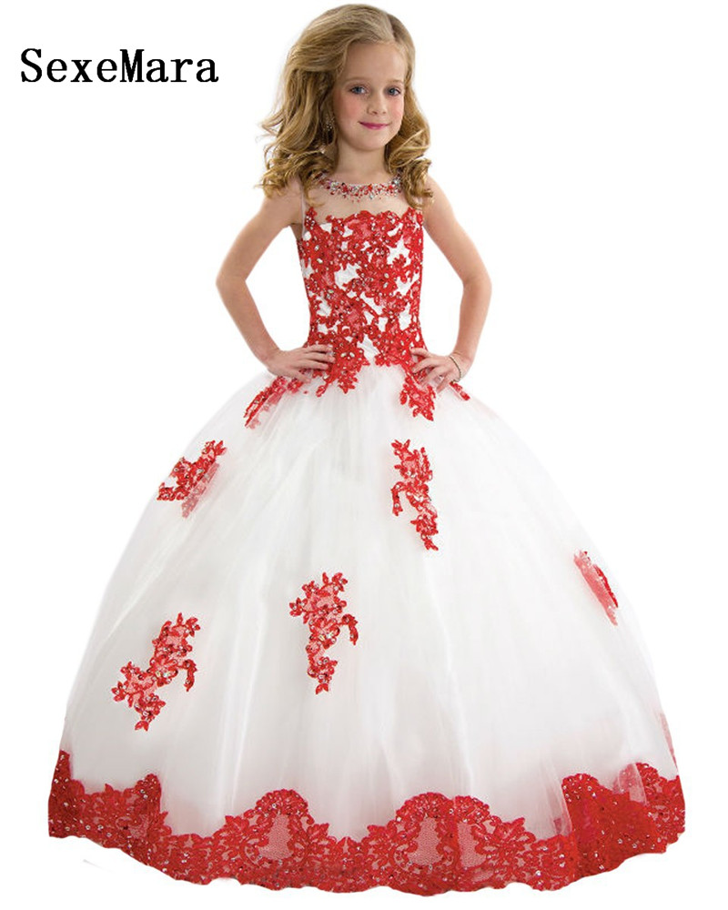 Luxury Beading Flower Kid Pageant For Weeding Party Ball Gown Shoulderless Dress