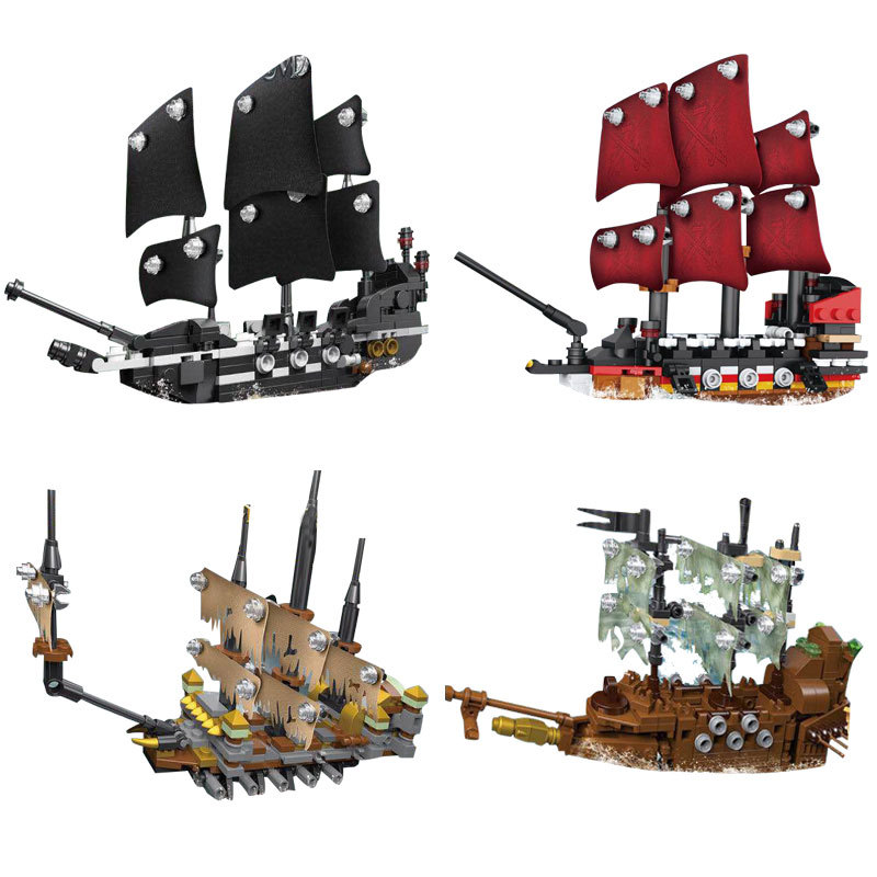 где купить Model building kits compatible with lego Pirates of the Caribbean Movie 4 In 1 Black Pearl Queen Anne's Reveage Slient Mary Ship по лучшей цене