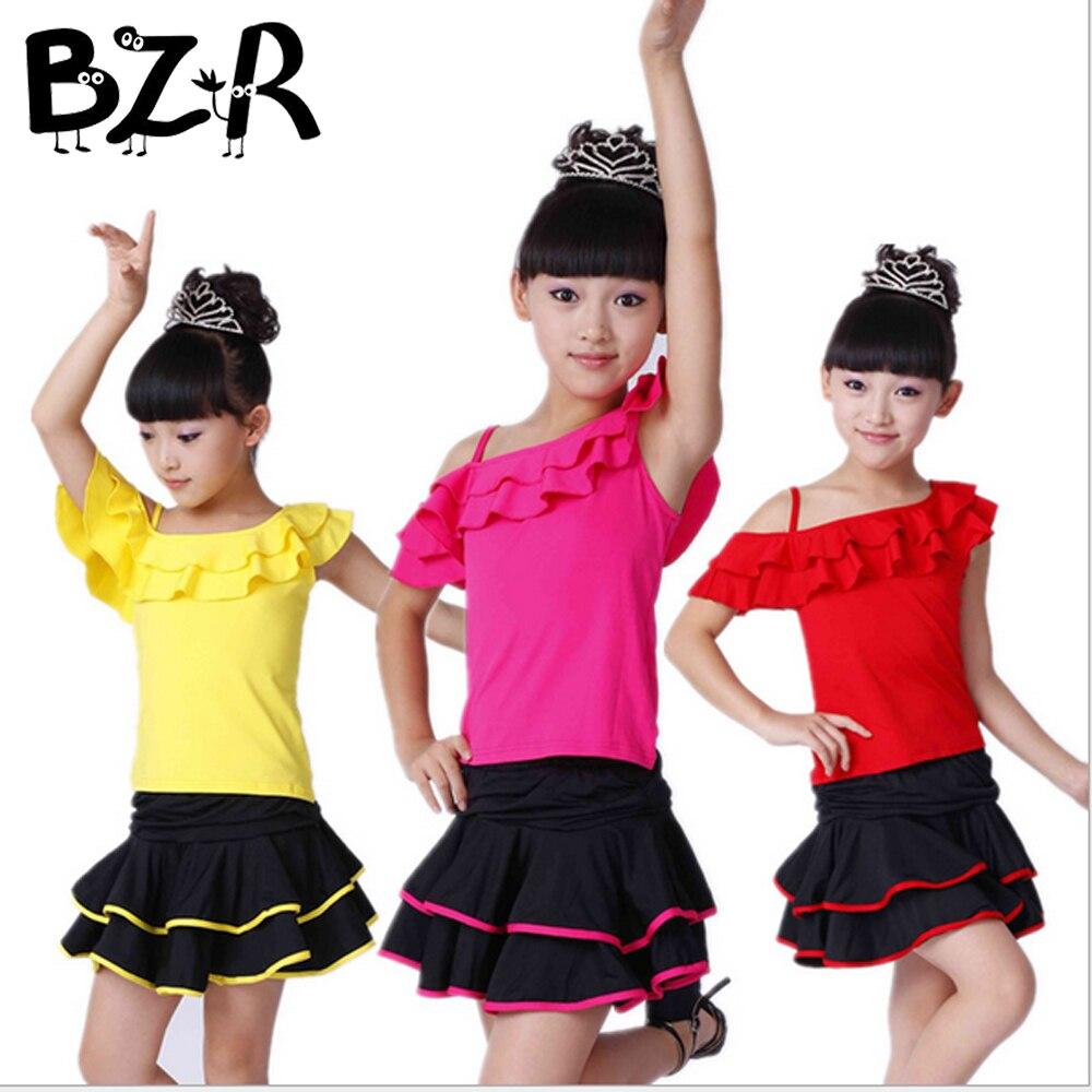 Bazzery Latin Skirt Girl Oblique ballroom dance skirt Dancewear Yellow Red Rose Children Perform Clothes Slim Training Skirts