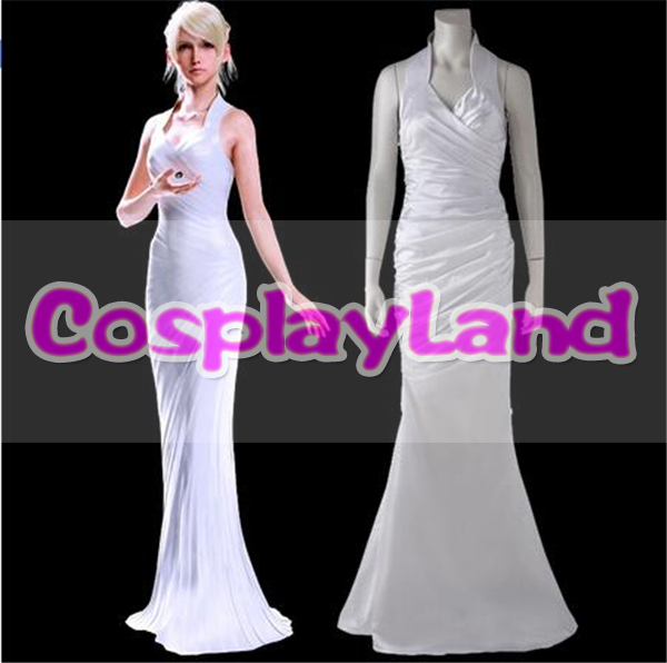 Lunafreya Nox Fleuret Dress Final Fantasy XV Lunafreya Nox Fleuret Coplay Costume Adult Women White Sleeveless Evening Dress