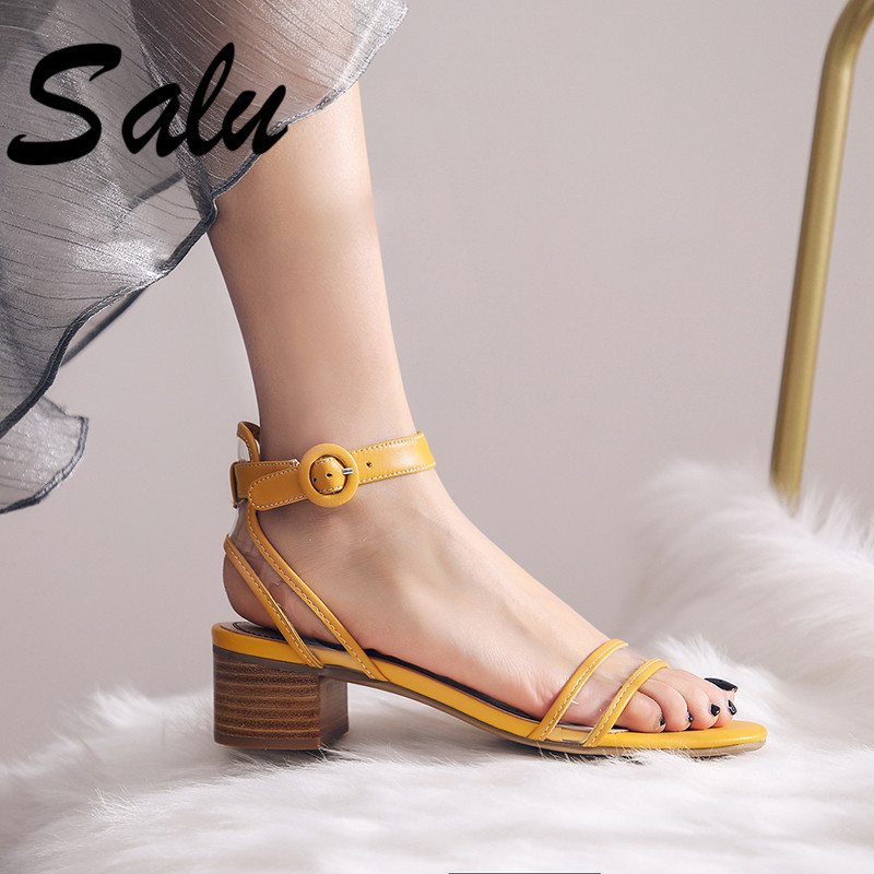 Salu 2019 Summer New Punk Women Sandals Fashion Suede Leather Open Toe Square Heeled Shoes Woman Buckle Wedding ShoesSalu 2019 Summer New Punk Women Sandals Fashion Suede Leather Open Toe Square Heeled Shoes Woman Buckle Wedding Shoes