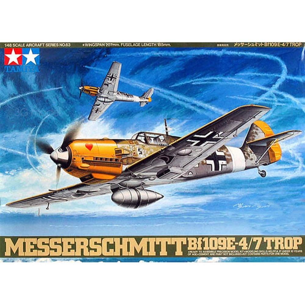 OHS Tamiya 61063 1/48 Messerschmitt Bf109E-4/7 Trop Assembly Airforce Model Building Kits dragon 3222 1 32 messerschmitt bf109e 3