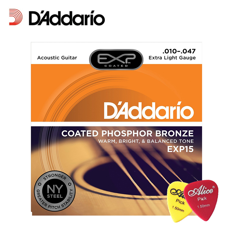 D'Addario EXP15 with NY Steel Phosphor Bronze Acoustic Guitar Strings, Coated, Extra Light, 10-47 With 2pcs picks d addario exp16 american made coated phosphor bronze acoustic guitar strings light 12 53