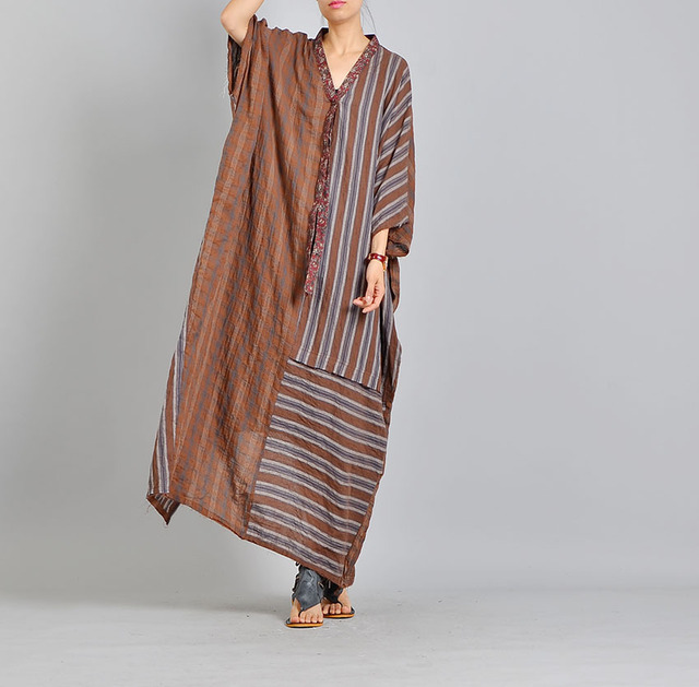 24e7cfd9d2 2018 Women Casual Striped Summer Dress Female Loose Half Sleeve V Neck  Cotton Linen Boho Long Maxi Dress Vestidos Plus Size