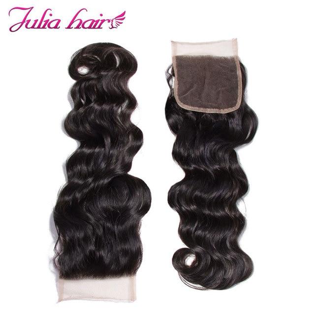 Ali Julia włosy malezyjski naturalne fale wiązki ludzkich włosów z bez zapięć część 4*4 zamknięcie koronki z 3 wiązki Remy włosy wyplata