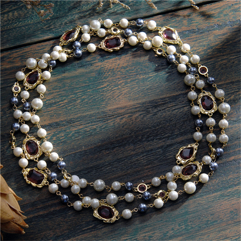 Crystal vintage long necklaces imitation pearl party  1