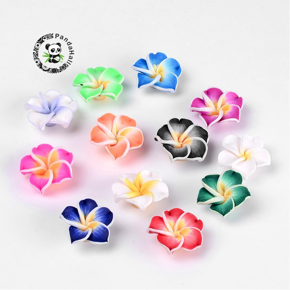Mixed Color/blue/orchid Hole: 2mm 20pcs Handmade Polymer Clay 3d Flower Plumeria Beads 20x10mm