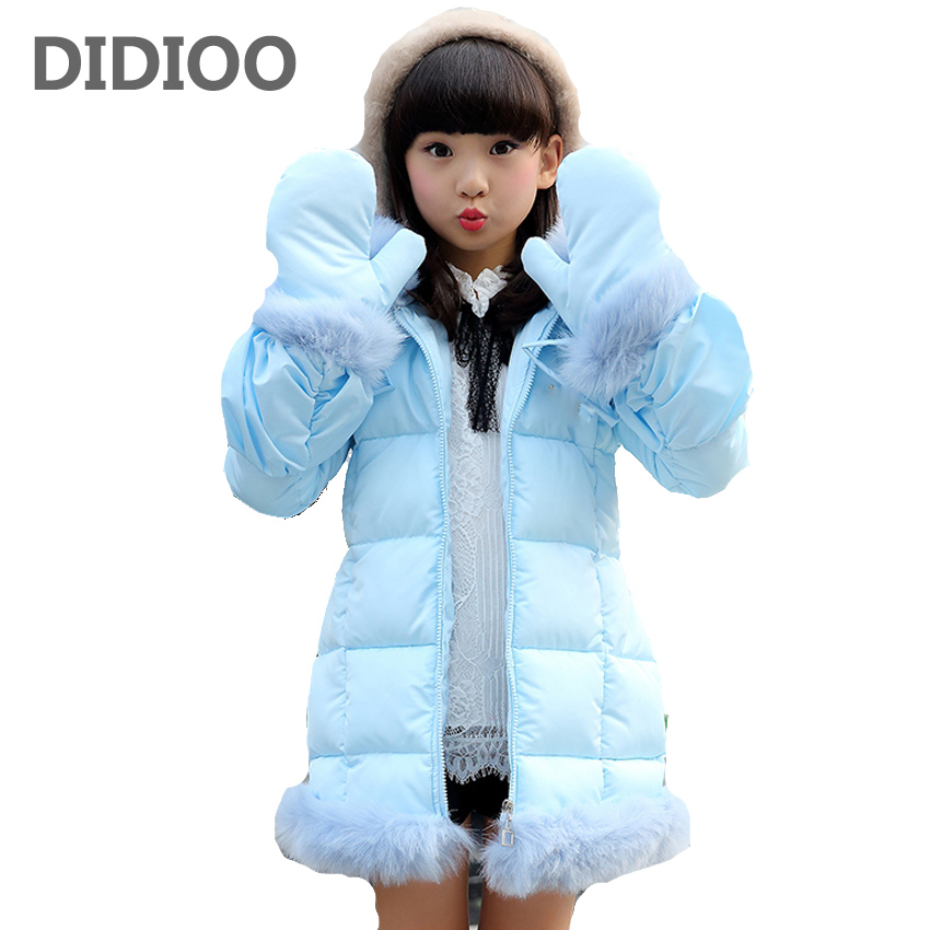 Children Outerwear Girls Warm Coats for Kids Hooded Parkas Baby Cotton-padded Clothes Girls Solid Fluffy Coats 7 8 9 10 12 Years 2017 winter baby coat kids warm cotton outerwear coats baby clothes infants children outdoors sleeping bag zl910