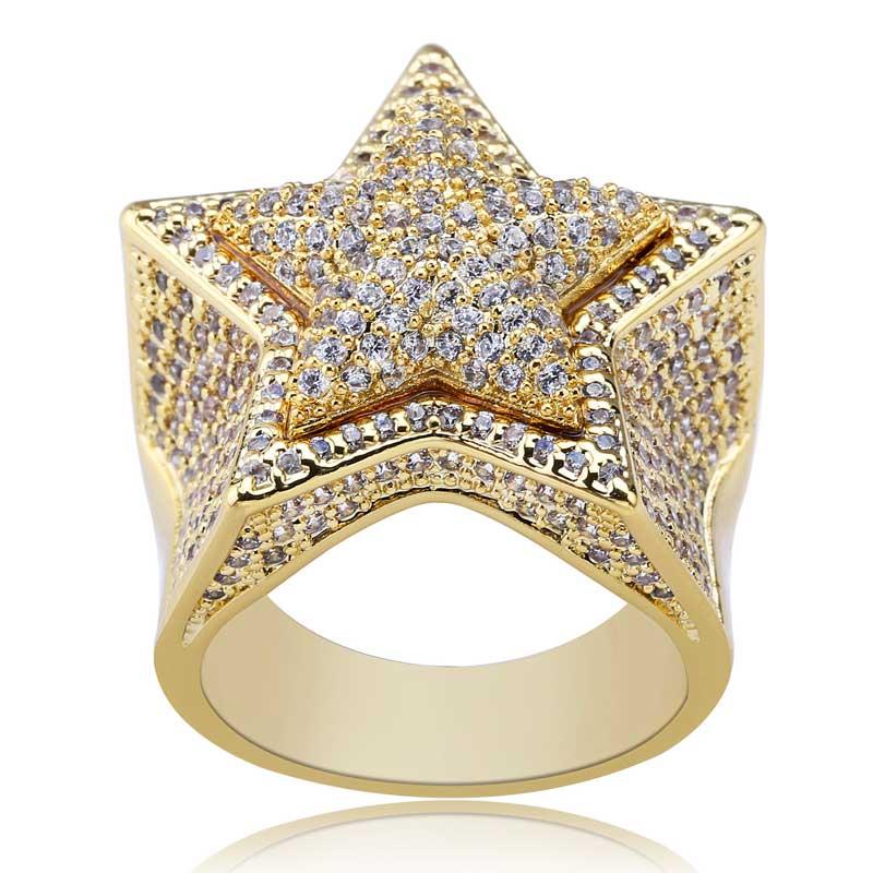 Solide étoile HipHop bagues pour hommes femmes glacé Bling CZ pierres or argent couleur bijoux en option taille 7-11 bague avec breloque