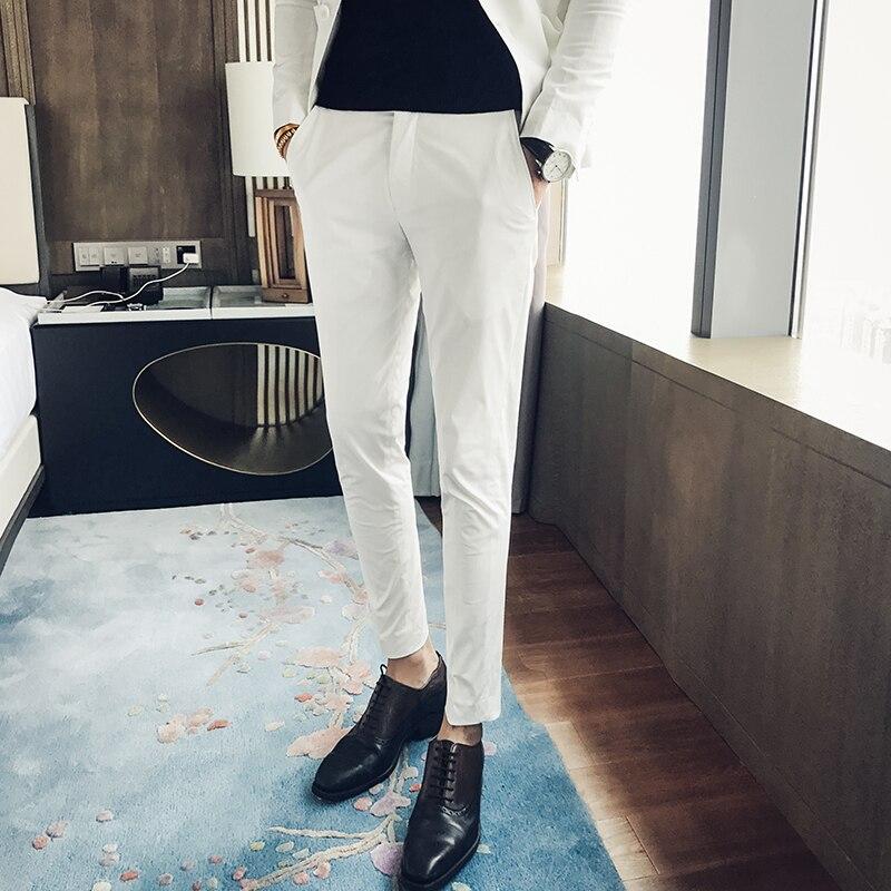 Instancabile Terzo Trimestre Nuovo Colore Solido Slim Fit Nove Affari Casual Pantaloni Dell'abito Individualità Degli Uomini Di Modo Semplice Selvaggio Hair Stylist Design Moderno