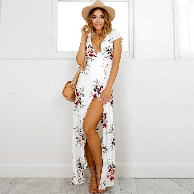 5e400776e6a8 Women Floral Print Boho Dress Wraparound V Neck High Waist Summer Beach  Dress Short Sleeves Swing Maxi Wrap Dress 2019 Vestidos