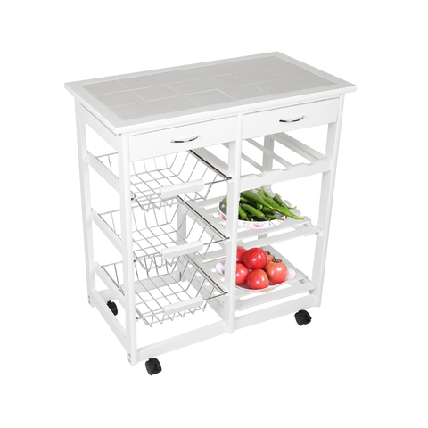 New Kitchen Trolley Cart Dining Shelf Island with Wine Rack Basket Storage Drawers 67*37*75CM HWC Lahore