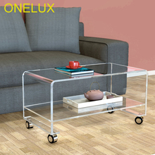 Clear Waterfall Acrylic Rolling TV  Stand On Wheels,Lucite Occasional Side coffee Tea Tables-2 Size Options цена 2017