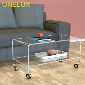ONE LUX Clear Acrylic TV Stand Wheels Side Coffee Tea