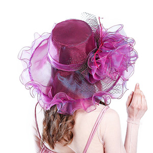 Image 3 - Fashion Summer Organza Kentucky Derby Hats For Women Elegant Laides Church Wedding Wide Large Brim With Big Flower Hat