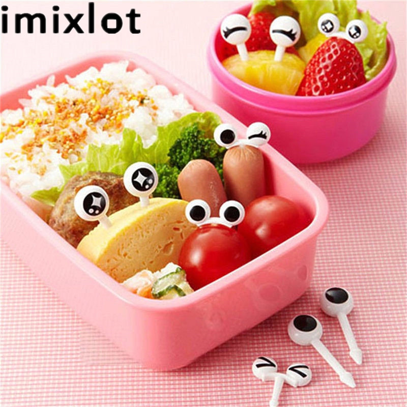 Imixlot 10pcs/Set Reusable Plastic Fruit Fork Mini Eye Fruit Fork Decorative Kids Lunch Box Bento Accessories Kitchen Tools