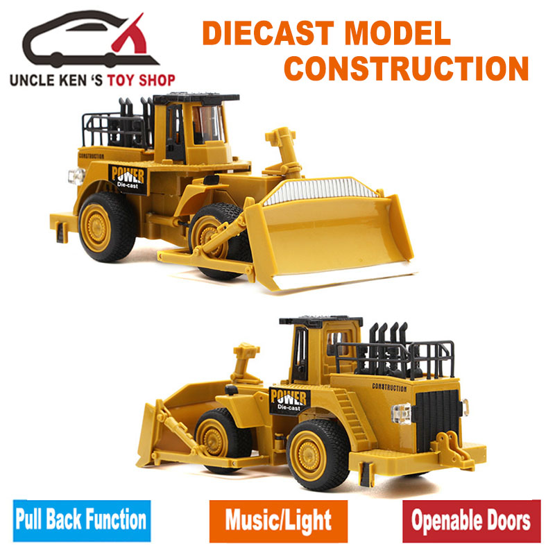 Simulation Diecast Caterpillar Metal Bulldozer Model, Mini Wheel Loader, Legetøj Traktorer, Biler Med Boks / Funktioner / Musik / Lys