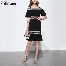 Seifrmann New Women Spring Summer Dress Runway Fashion Designer Sexy Spaghetti Strap Off shoulder Lace Elegant Vintage Dresses все цены