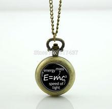 Science Jewelry E mc2 Pocket Watch Photo Locket Necklace Antique Pocket Watch Necklace