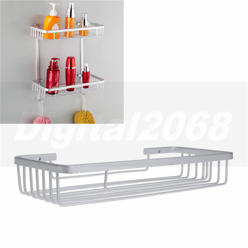 NºFree Shipping Rectangle Silver Aluminum Soap Shampoo Basket Caddy ...