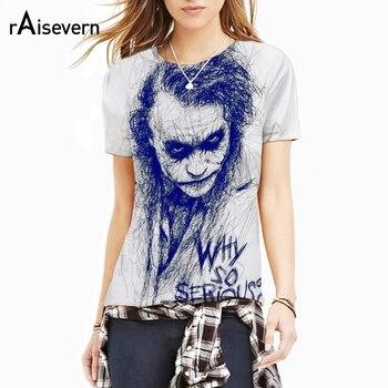 b8e7ec3fd5 Plus tamaño 5XL 3D T camisa de moda de verano Joker por qué tan serio  camiseta Casual de manga corta de los hombres de las mujeres camisetas  camisas ...