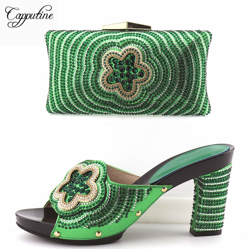Capputine Fashion Women Pumps Shoes And Bag Set To Match High Quality Italian Shoes With Matching Bags For Party Size 37-43 capputine african style crystal shoes and matching bag set for party fashion women pumps slipper shoes and bags set size 37 43