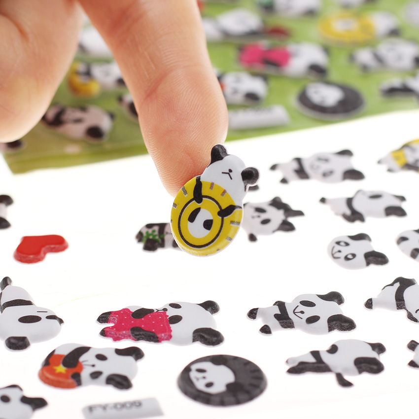 Купить с кэшбэком 1PC DIY Diary Album Scrapbooking Kawaii Stationery Memo Pad Cute Panda 3D Bubble Sticker Decoration