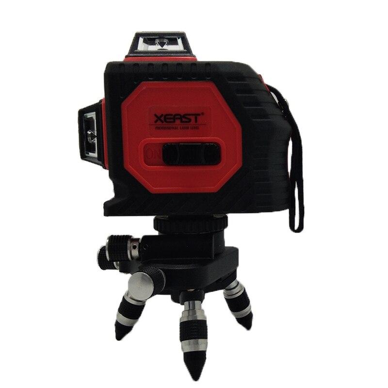 Xeast 12 линий красный луч 360 градусов перекрестная линия лазерный уровень 3D Настенный инструмент