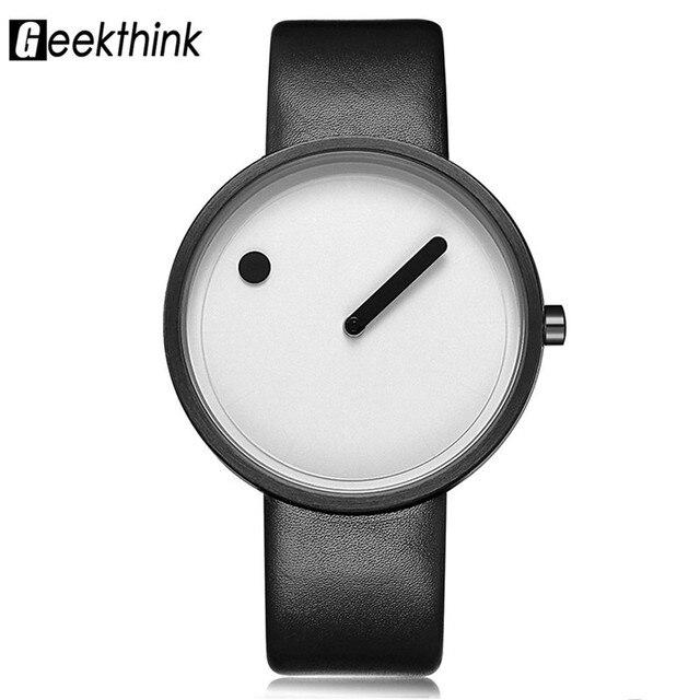 56acd903f7e8 € 7.97 49% de DESCUENTO|De las mujeres diseño creativo minimalista relojes  reloj azul mujeres Cool punto línea Simple niñas correa de cuero negro ...