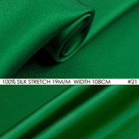 SILK STRETCH SATIN Fabric 19mm Width 42 108cmNatural Silk Fabric Lycra Wholesale 5meters/Lot Free Shipping Bamboo Green NO 21