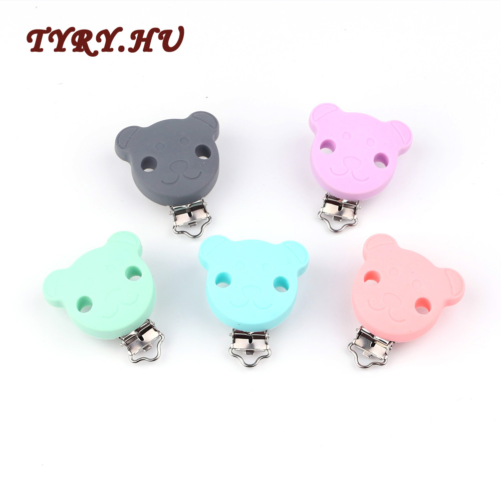 1pc BPA Free Round Bear Star Silicone Baby Pacifier Dummy Teether Chain Holder Soother Nursing Toy Accessories Clips DIY