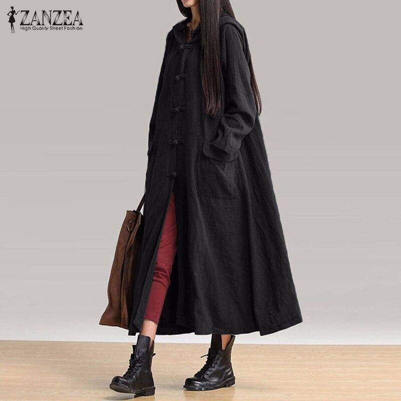 Vestidos 2019 ZANZEA женское повседневное свободное платье до середины икры женские винтажные с v-образным вырезом с капюшоном с длинным рукавом одн...