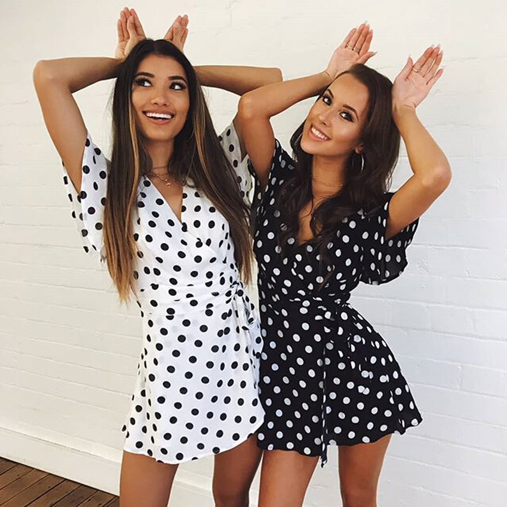 Girlfriends Sexy polka dot Playsuits Women Jumpsuits V Neck   rompers   womens playsuit 2019 Beach Party Casual belt Lace Up   romper