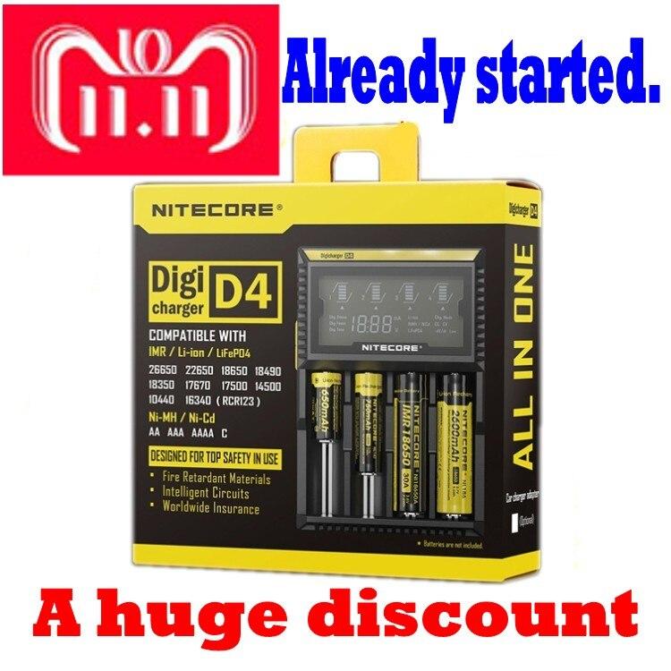 Nitecore D4 D2 nuevo I4 I2 Digicharger inteligente LCD circuitos Global de seguros Li-Ion 18650, 14500, 16340, 26650 cargador de batería
