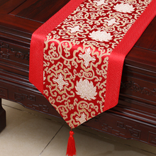 Traditional wedding table runner floral auspicious Party bed mat satin table cover Red tablecloth home decor недорого