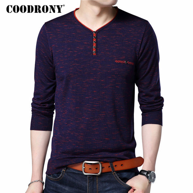 430aab87 US $33.0 |COODRONY Knitted Cashmere Pullover Men 2017 Autumn Winter New  Wool Sweater Men Brand Shirts Casual Button V Neck Pull Homme 7140-in ...