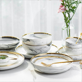 Gold Marble Dinner Plate Set Ceramic Kitchen Plate Tableware Set Food Dishes Rice Salad Noodles Bowl Soup Kitchen Cook Tool 1pc blue annual ring dinner plate ceramic kitchen plate tableware set food dishes rice salad noodles bowl soup kitchen cook tool