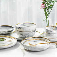 Gold Marble Dinner Plate Set Ceramic Kitchen Plate Tableware Set Food Dishes Rice Salad Noodles Bowl Soup Kitchen Cook Tool 1pc