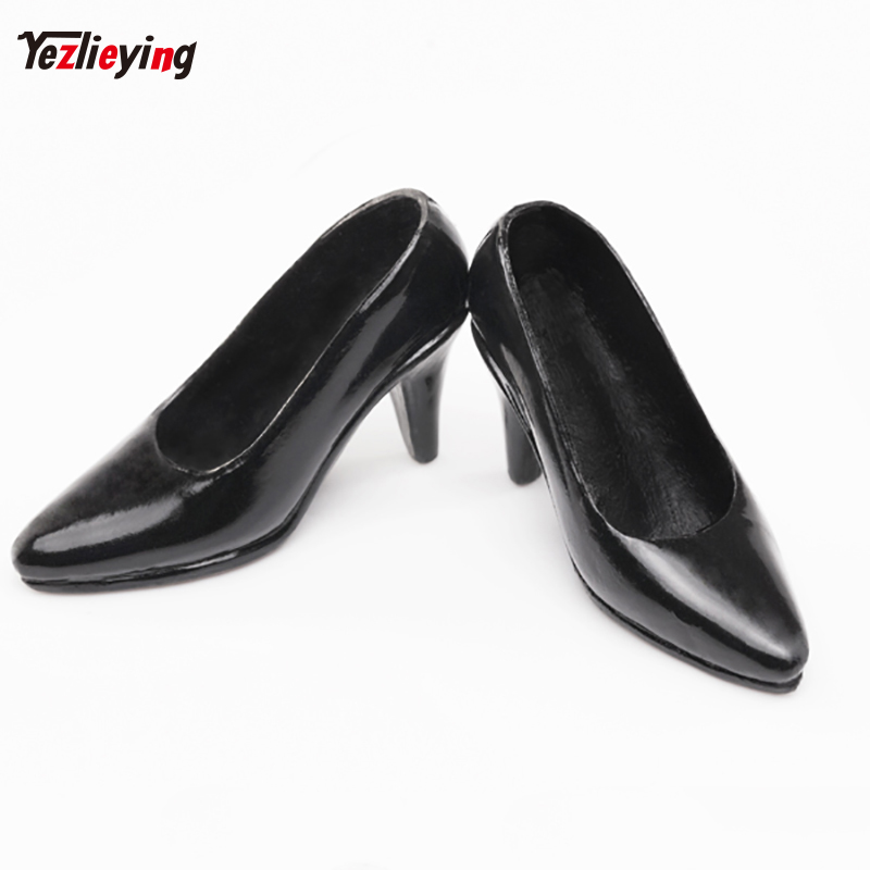 1/6 Scale Clothes Accessories Female Leather Black High Heels Boots Shoes f 12 Phicen Figure Doll Outfit Dollfle Dress HTtoys