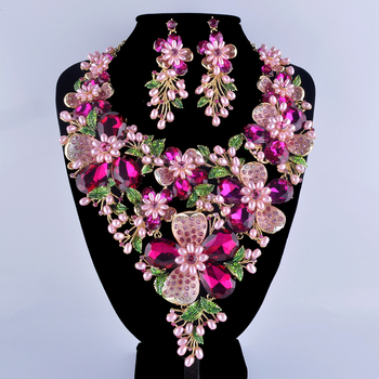 Fuchsia Rhinestone Gold Plated Flower Statement Necklace Set Pink Simulated Pearl Plant Bridal Wedding Party Pearl Jewelry Set
