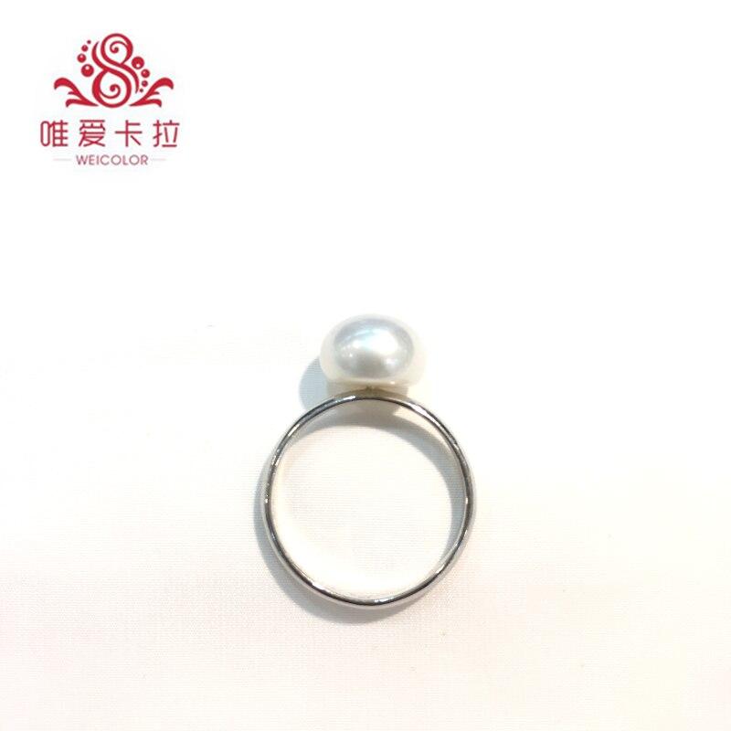 WEICOLOR Simple mais classique! Anneau de perles d'eau douce Semiround blanc naturel (16-17mm de diamètre)
