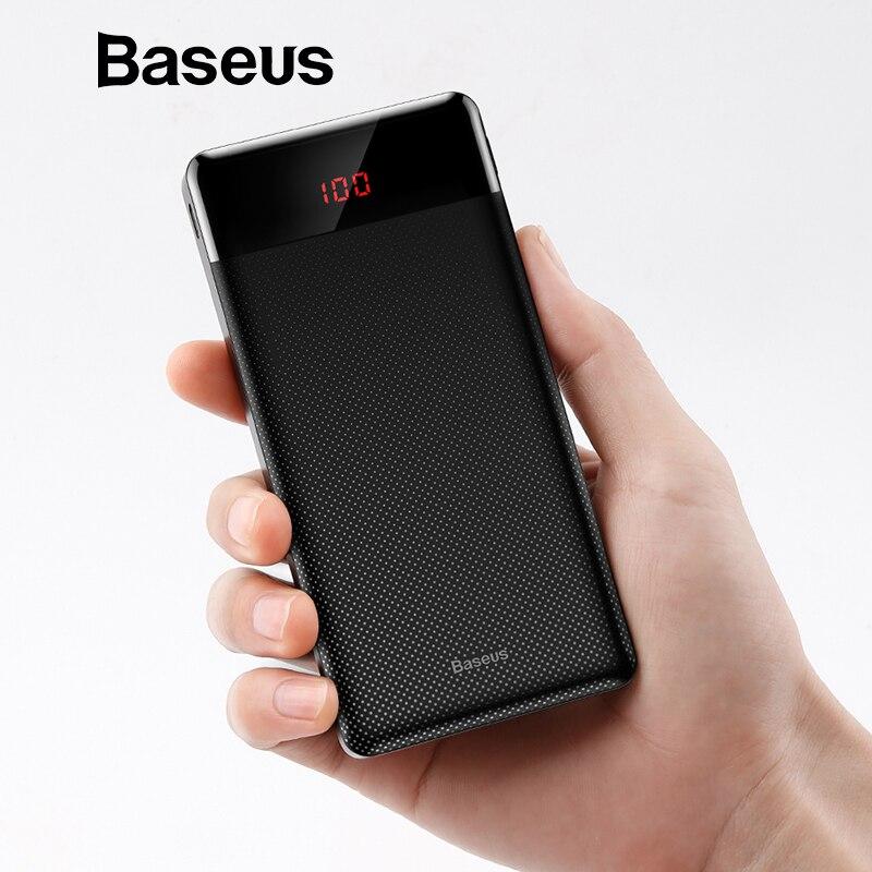 Baseus 10000 mah Power Bank Für Xiaomi Samsung iPhone Huawei Power Tragbare Mini Dual USB Lade Externe Batterie Pack Bank