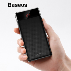 Baseus Super Mini Power Bank For Xiaomi Samsung iPhone Huawei Powerbank Portable Dual USB Digital Display Charging Power Bank